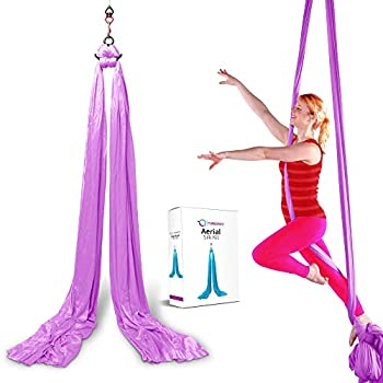 TURBONICE Aerial Silk Cloths-5 Meters/5.5 Yards Silk-Trapeze Yoga Set-Daisy Chain Clips-Carabiners-Swivel-Figure 8 Descender-Indoor/Outdoor-11 Colors  Light Purple