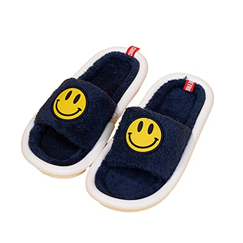 ergou Women s Men s Smiley Face Plush Fluffy Slippers, Cute Fuzzy Slippers Women, Couple Comfy Warm Non-Slip Slides, House Flat Shoes for Indoor Outdoor Open Toe Slippers (Blue,37-38)