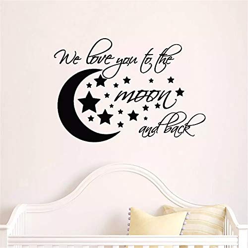 Moon and Stars Wall Stickers I Love You Until The Moon and Back Wall Decorations Cartoon Wall Stickers Living Room TV Background Children Bedroom Decoration