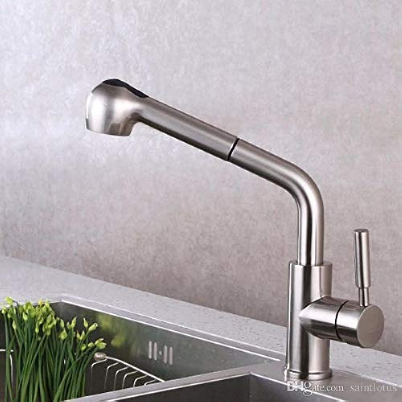Oudan Küchenarmaturen 360 Grad Swivel Herausziehen Spüle Wasserhahn Wassereinsparung Gebürstet Messing Becken Kran Mischer Messinghahn (Farbe   A, Gre   -)