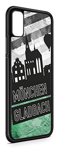 aina Kompatibel mit Samsung Galaxy A7 2018 Silikon Handyhülle Flexibles Slim Case Cover Mönchengladbach Skyline Motiv Bild Schwarz