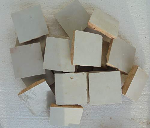 20 Stk. marokkanische Tonfliesen Zellige glasiert 5x5 cm (grauweiß)