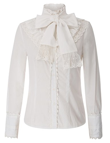 Belle Poque Damen Stehkragen Lolita Langarm Rüschen viktorianischen Bluse Weiß Größe XL