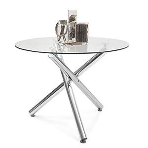 Mesa de Comedor Redonda Brisa sobre de Cristal Templado Transparente y Base de Metal Pulido Acabado Brillo (Cristal Canto Redondo, 100x100 cm)