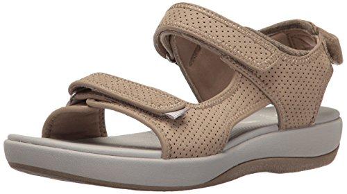 Clarks Women's Brizo Sammie Flat Sandal, Sand Perforated Microfiber, 7.5 M US
