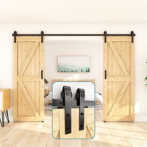 ZEKOO 11 FT Sliding Barn Door Hardware Kit Use for Double Doors Closet Track