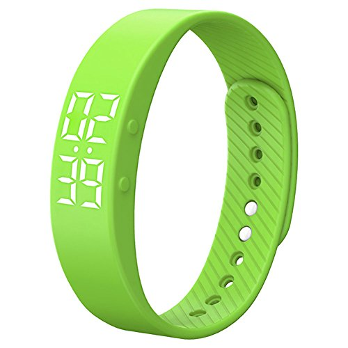 feifuns Smart Wristband Non-Bluetooth Pedometer Bracelet Fitness Tracker Smart Watch with Timer Vibration Alarm Step Calories Counter Distance Time/Date for Walk for Kids[Upgrade Version] (Green)