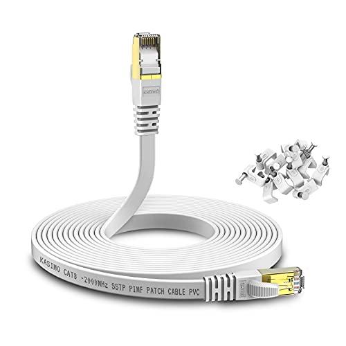 KASIMO Cable Ethernet 20 metros de Red Cat 8, Cable Internet Plano 40 Gbps   2000 MHz, SFTP Cable LAN Con Conector RJ45 Enchapado en Oro – Blanco