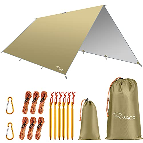 Ryaco Toldo de Refugio Impermeable 3M*4M, Hamaca Tienda de campaña, portátil, Ligera, Impermeable, Refugio para Camping, Senderismo, Mochila (Caqui, 3m x 4m)