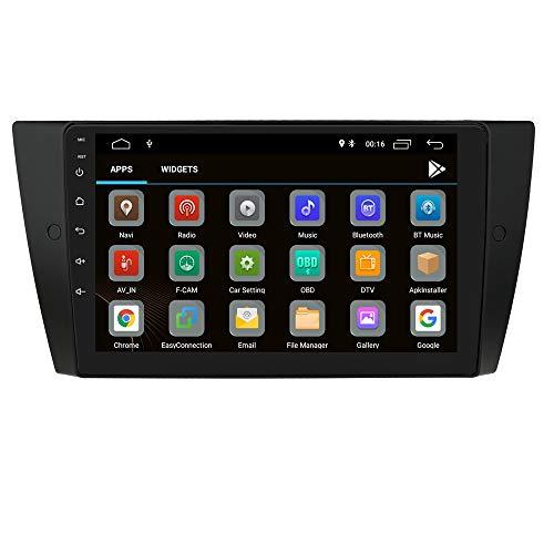Android 10 Autoradio Bluetooth Fit per BMW Serie 3 E90 / E91 / E92 / E93 2006-2012, Navigazione GPS per auto Single Din 9 pollici 1080P Video Player 4G WiFi OBD2 TPMS Controllo del volante