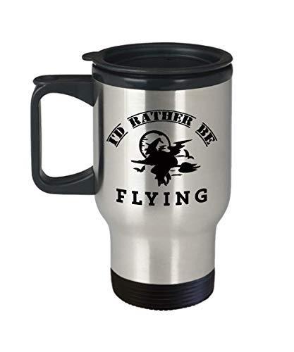BridgetWhy50 Ik zou liever vliegen, 14 oz RVS Reismokken, Grootste geschenken voor co-piloot, Unieke Theekopjes Voor Piloot, Beste Grappige Geschenken Voor Piloot Ooit