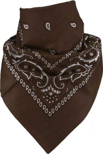 Harrys-Collection Harrys-Collection Unisex Bandana Bindetuch 100% Baumwolle (1 er 6 er oder 12 er Pack), Farbe:dunkelbraun