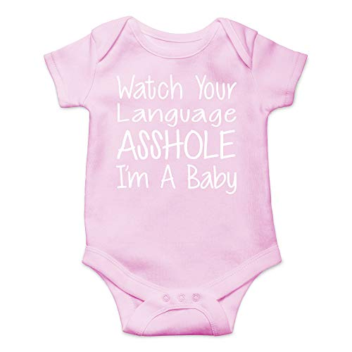 CBTwear Watch Your Language I'm A Baby Funny Romper Cute Novelty Infant One-piece Baby Bodysuit (6 Months, Pink)