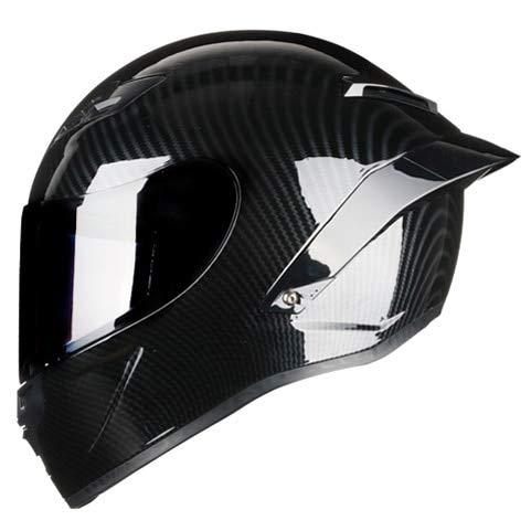 IAMZHL Vollgesicht Motorradhelm Rennhelm Kask Regenbogen Visier Motocross Offroad Touring-Gloss 4-5-S