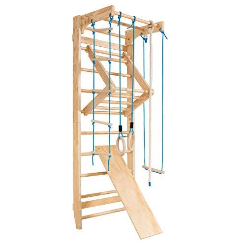 COSTWAY Escalera Sueca Barras de Pared 80x60x220cm Madera Espaldera para Gimnasio Fitness Casa Deportiva Carga hasta 100kg