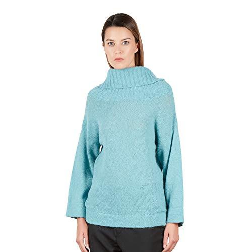 Dames pullover Coltrui trui met Multi Fit hals van Alpaca Blend wol kleur Blauwe