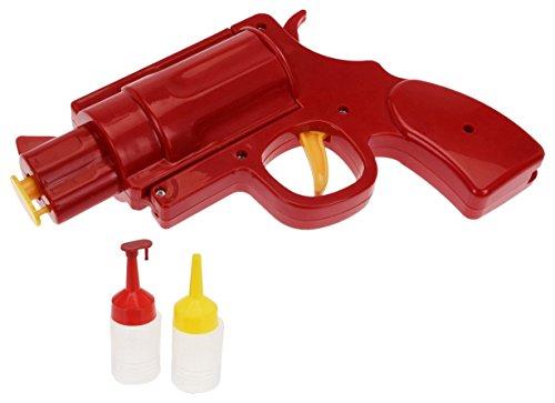 Mustard Condiment Dispenser Bottle - Red Condiment Gun