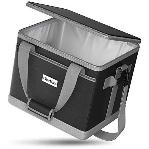 OlarHike Cooler Bag Lunch Bag, Collapsible and Insulated Lunch Box Leakproof Cooler Bag for Camping, Picnic, BBQ (40-Can, Black)