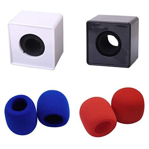 4pcs / Set Cubo Cuadrado ABS, Auriculares con Micrófono, Esponjas de Micrófono