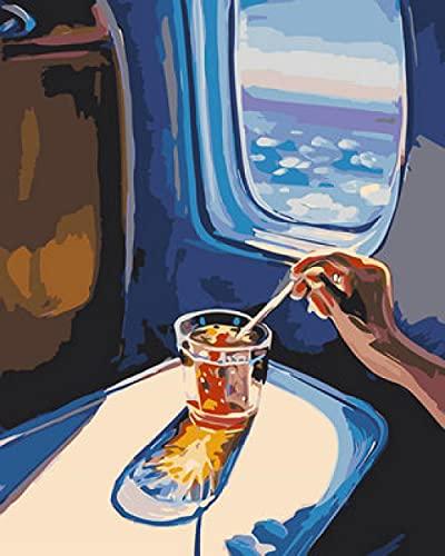 DJHFGH Pintura por Numeros Adultos,DIY Pintura Digital Al Óleo Kit con Pinceles Y Pinturas Cabina De Avión con Marco De Madera 40X50Cm