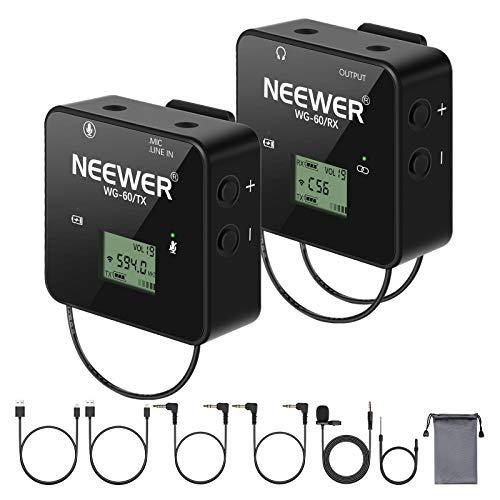 Neewer Sistema di Wireless Microfono Lavalier UHF a 57 Canali, con Ricevitore Trasmettitore & Microfono da Bavero, per Fotocamere iPhone Android YouTube Interviste Registrazioni Insegnamenti Vlogging
