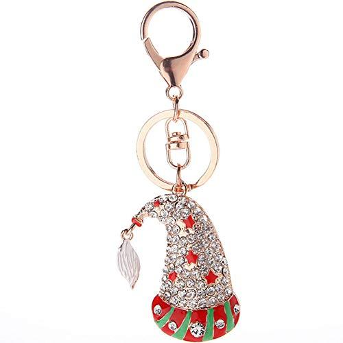 HXYKLM Kerst Hoed Vorm Sleutelhanger Sleutelhanger Ring Strass Sleutelhanger Handtas Hanger Decoraties voor Mannen Vrouwen Kids Sieraden
