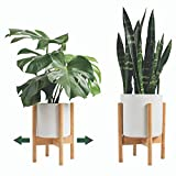 Mid Century Plant Stand Otter & Mint - Adjustable Bamboo Indoor Plant Stand Fits Plant Pots 8-12 Inch - Modern Plant Stand Indoor - Planter Stand for Indoor Plants Fits All Rooms & Corners