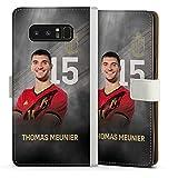 DeinDesign Klapphülle kompatibel mit Samsung Galaxy Note 8 Duos Handyhülle aus Leder weiß Flip Hülle Offizielles Lizenzprodukt Fußball Belgien