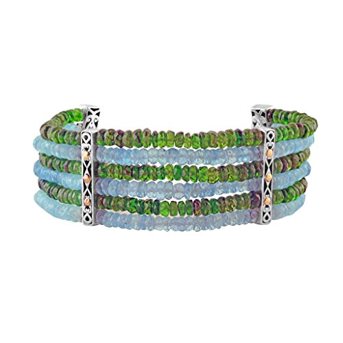 Robert Manse Designs Bali Designs Sterling Silver and 18k Gold Accented Six Strand Beaded Bracelet (Chrome-Diopside)