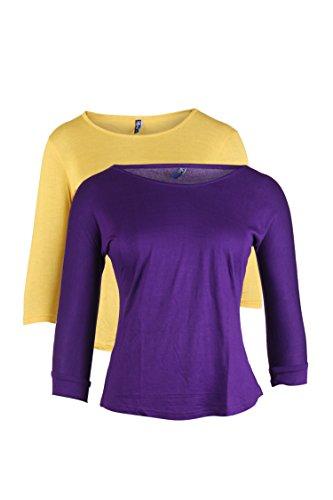 VVOGUISH Women's Regular fit Top (Pack of 2) (VV1030YEL1136PPL_M_Yellow M)