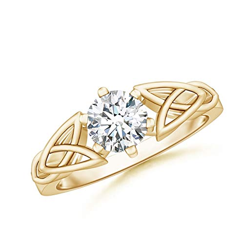 Solitaire Round Moissanite Celtic Knot Ring in 14K Yellow Gold (6mm Moissanite)