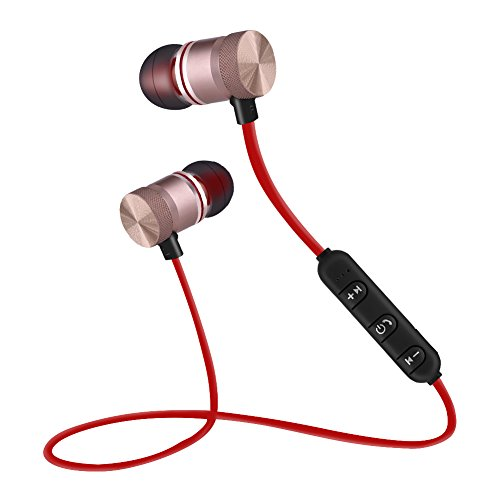 Bewinner Cuffie Bluetooth Portatili, Wireless Auricolare Magneti Integrati Sport Cuffie in Gomma Morbida per iOS, Supporto Wechat, Navigazione Auto, Qq Voce e Altri Software(Oro)