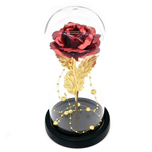 Kit de Rosas La Bella y la Bestia, Hoja de Oro Rojo Rosa y luz LED con Cuentas de Oro en cúpula de Vidrio en Base de Madera para decoración del hogar Boda de cumpleaños Día de la Madre
