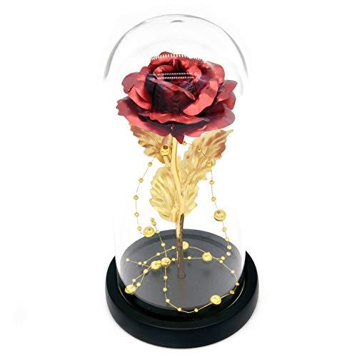 Kit di Rose ''La Bella e la Bestia'', Lamina d'oro Rosso Rosa e Luce a LED con Perline d'oro in Cupola di Vetro su Base in Legno per Decorazioni per la casa Compleanno Matrimonio Festa della Mamma
