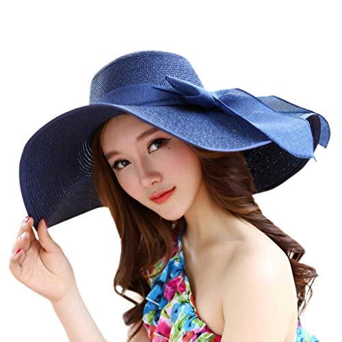 Qiamay Damen Strohhut breite Krempe faltbares Sommer Cap mit Bowknot Strand Sonnenhut (Navy,One Size)