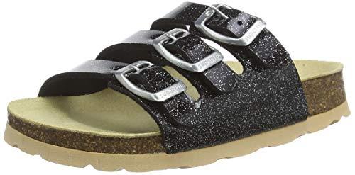 Superfit Mädchen FUSSBETTPANTOFFEL Pantoffeln, Schwarz (Schwarz Kombi 01), 40 EU