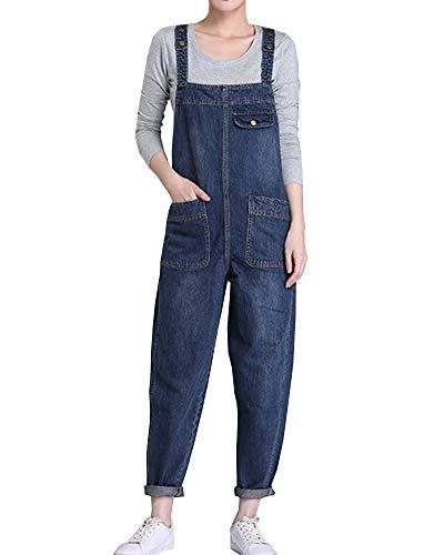 Vaqueros Mujer Petos de Pantalones Largos Sueltos Jeans Monos de Mezclilla Azul Oscuro 6XL