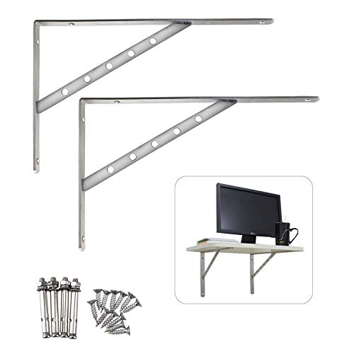 "Stainless Steel Solid Shelf Brackets,14"", Shelf Support Corner Brace Joint Right Angle Bracket L Shaped Wall Shelf,2 Packs,4mm Thinkness"