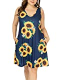 HBEYYTO Women's Plus Size Summer Casual T Shirt Dresses Swimsuit Cover Ups with Pockets (Sunflower Navy, 3X Plus)