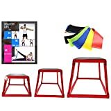 Plyometric Box Set, Jumping Agile Box Set, Red Plyometric Platform with Resistance Loop Exercise Bands ,3 Sizes 12', 18', 24',Plyometric Platforms 3 PCS Set,Perfect Design,for Jump Exercise Fit Training and Conditioning ,For Gym or Home