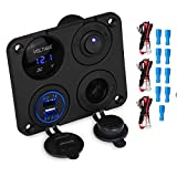 4 Holes Iluminated Toggle Rocker Switch Panel with DC 12V Power Socket Digital Voltmeter and DC 5V 3.1A Dual USB Charger (Four Hole Blue)