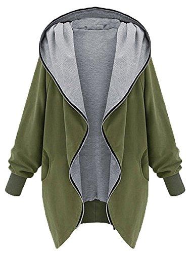 Minetom Frauen Hoodie Kapuzen Parka Herbst Frauen Oversize Parka Hooded Zipper Jacke Cardigan Blazer Mantel Outwear Schwarz Grün (Grün, EU M (Tag XL))