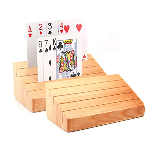 ODDIER Wooden Playing Card Holder Tray Rack Organizer for Kids Seniors Adults - 13inch Extended Versions Long Enough for Bridge Canasta Strategy Card Playing