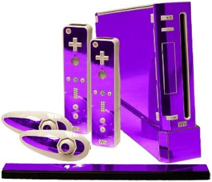 Purple Chrome Mirror Vinyl Decal Faceplate Mod Skin Kit for Nintendo Wii Console by System Skins