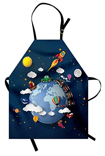Lunarable Travel Apron, Journey on Earth with Plane Car Rocket Spaceship Train Holiday Adventure Cosmos, Unisex Kitchen Bib with Adjustable Neck for Cooking Gardening, Adult Size, Night Blue