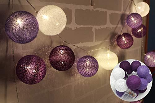 Cadena de luces con bolas de algodón, funciona con pilas, 3,3 m, 20 bolas LED, para interior o pared, iluminación de Navidad, decoración para bodas, habitaciones, hogar, fiestas (Morado Blanco)
