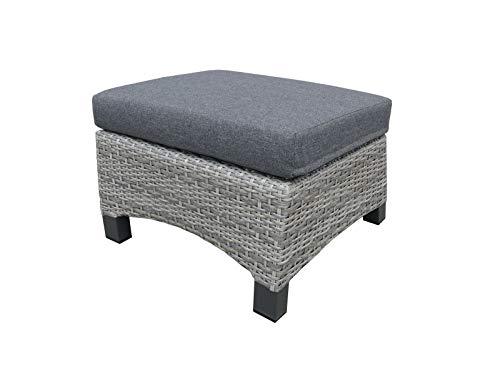 lifestyle4living Hocker aus Polyrattan in grau mit Sitzkissen für Terrasse oder Garten. Variabel einsetzbar als Fußbank, Beistellhocker durch Auflagekissen.