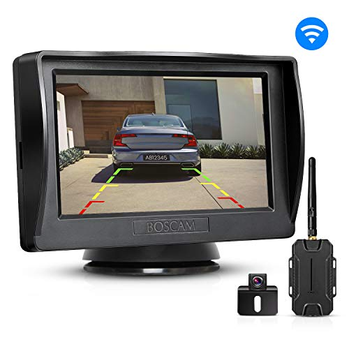 BOSCAM Wireless Backup Camera and Monitor Kit, 4.3 Inches LCD Rear View Monitor + Waterproof Back up Car Camera with Super Night Vision for Cars,Vans,Trucks,RVs backup BOSCAM camera
