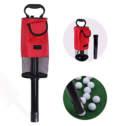 Forart Golf Ball Retriever Portable Pocket Shagger Storage Pick up Shag Bag with Handle Frame, Hold Up to 60 Balls