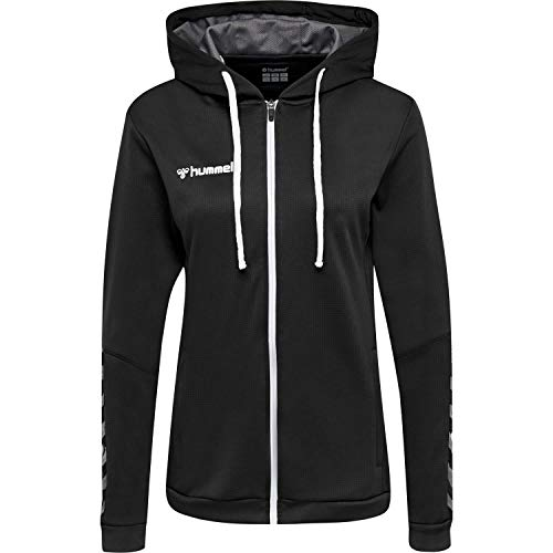 Hummel Damen hmlAUTHENTIC Poly Zip Hoodie Woman, Black/White, L